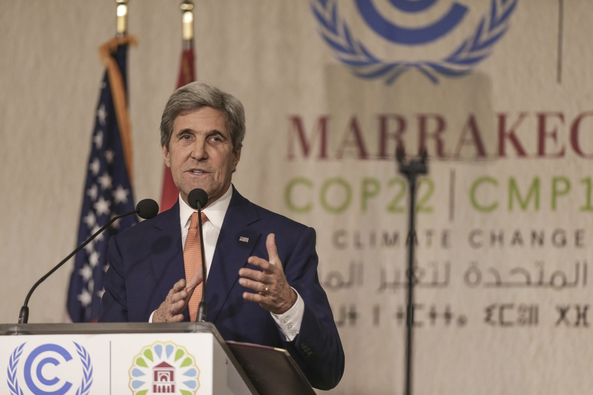 "US Secretary of State John Kerry delivers an address at the COP22 climate change conference in Marrakech, Wednesday, Nov 16, 2016. Kerry made a stirring appeal Wednesday to all countries — including his own — to press ahead with the fight against climate change, saying a failure to do so would be a ""betrayal of devastating consequences."" (AP Photo/Mosa'ab Elshamy)"