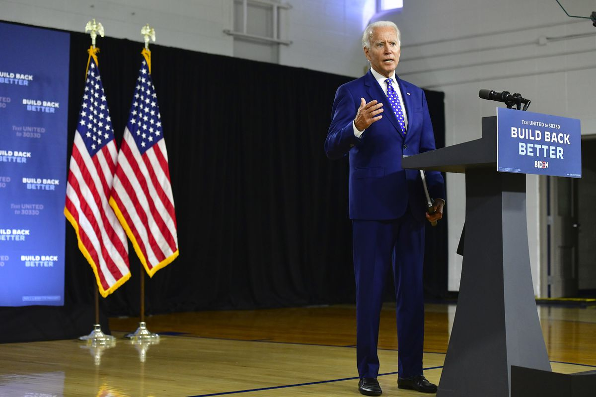 Democratic presidential nominee Joe Biden delivers a speech at the William Hicks Anderson Community Center, on July 28, 2020 in Wilmington, Delaware. (Source: Mark Makela/Getty Images)