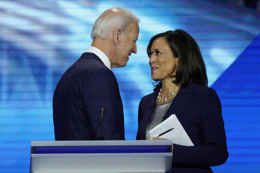 Former Vice President Joe Biden and then-candidate Sen. Kamala Harris shake hands after a Sept. 12, 2019 primary debate. On Tuesday (August 11, 2020), Mr. Biden selected Senator Harris as his running mate. (Source: AP/The Christian Science Monitor)