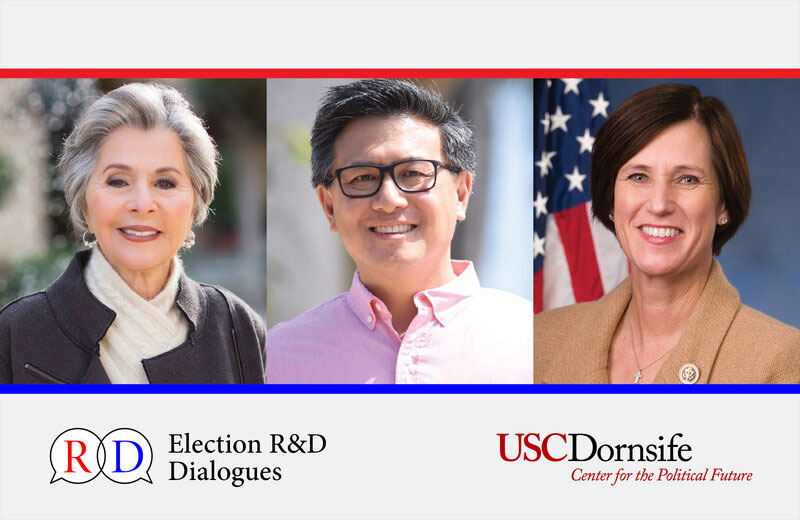 Three upcoming Election R&D Dialogues, hosted by USC Dornsife Center for the Political Future Director Bob Shrum and Co-director Mike Murphy, will feature the Center's new fall fellows. (Composite: Dennis Lan.)