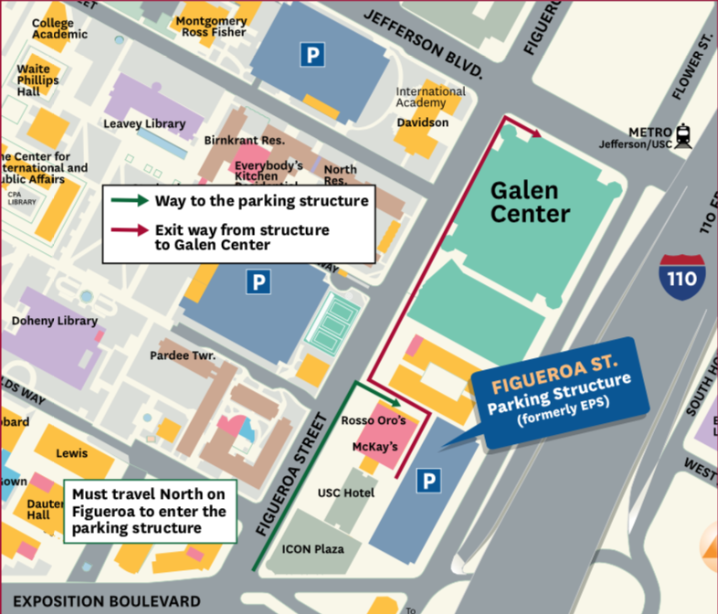 Map of directions and parking to the USC Galen Center Voting Site (Source: USC University Relations)