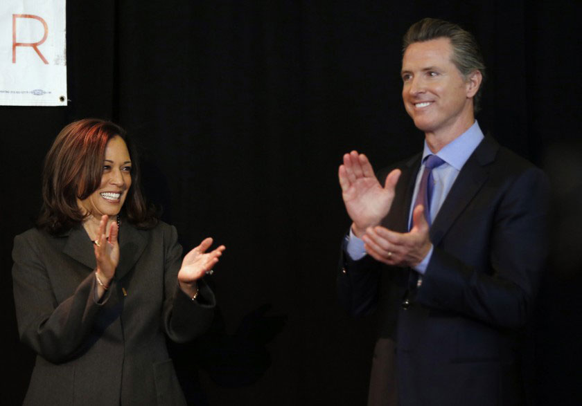 Sen. Kamala Harris endorsed then-Lt. Gov. Gavin Newsom in the California governor's race in an appearance at USC's Ronald Tutor Campus Center on Feb. 16, 2018. (Source: Damian Dovarganes / Associated Press)
