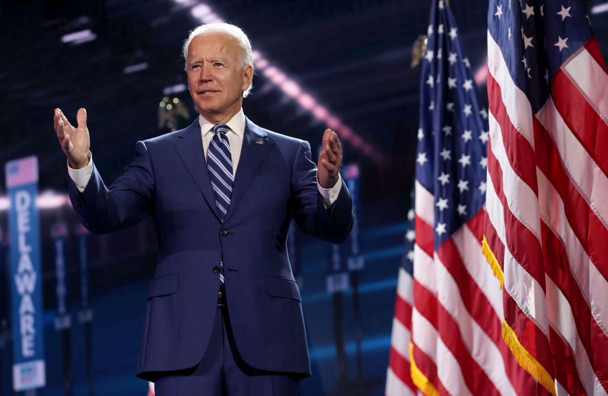 Democratic presidential nominee Joe Biden appears on stage after Democratic vice presidential nominee Sen. Kamala Harris spoke during the third night of the Democratic National Convention from the Chase Center in Wilmington, Delaware on August 19, 2020. (Source: Win McNamee/Getty)