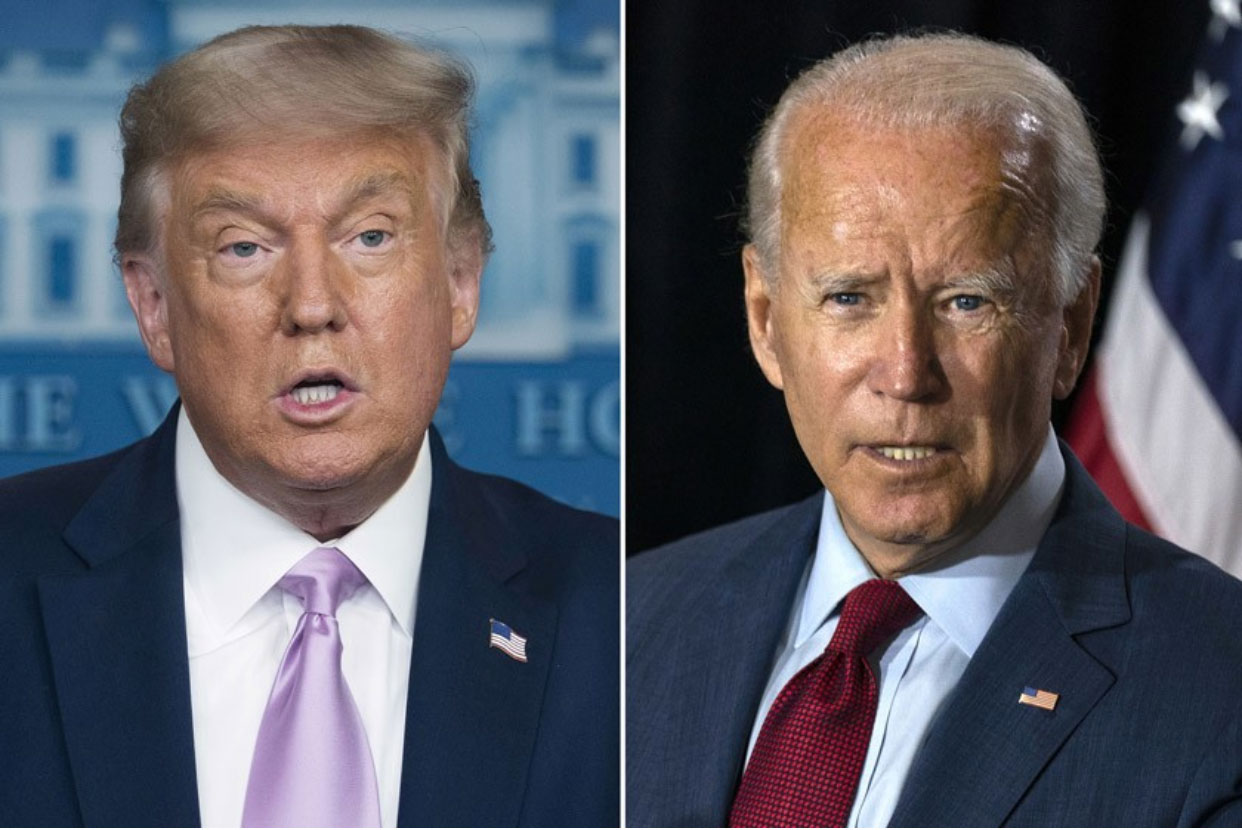 President Trump, left, and former Vice President Joe Biden. (Source: Associated Press)
